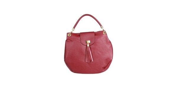 Dámska veľká tmavo červená kabelka so strapcom Made in Italia