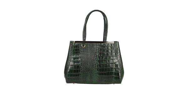 Dámska zelená kabelka so zlatou lištou Made in Italia