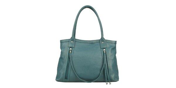 Dámska tyrkysová kožená kabelka s ozdobným remienkom Made in Italia