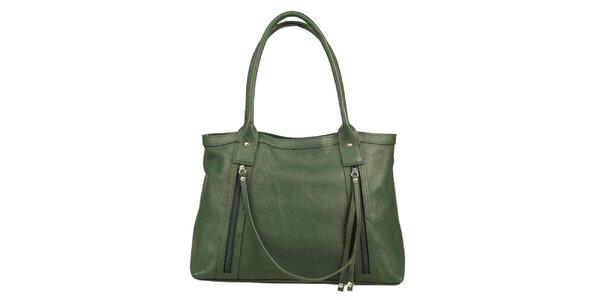 Dámska zelená kožená kabelka s ozdobným remienkom Made in Italia