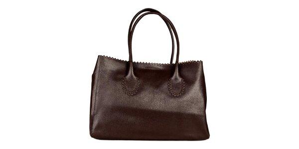 Dámska tmavo hnedá kabelka s ozdobným lemom Made in Italia