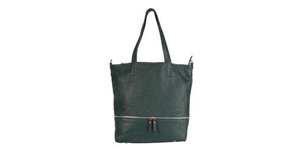Dámska modrozelená kožená kabelka so zipsovým detailom Made in Italia