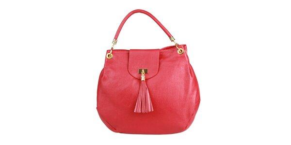 Dámska veľká červená kabelka so strapcom Made in Italia