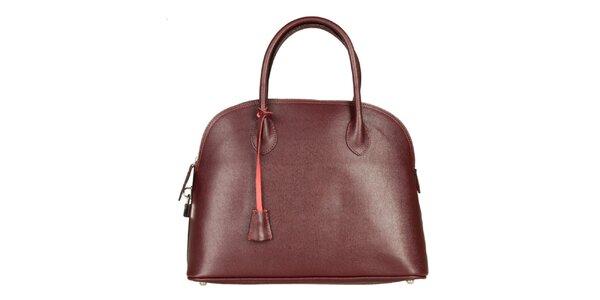 Dámska tmavo červená kožená kabelka Made in Italia