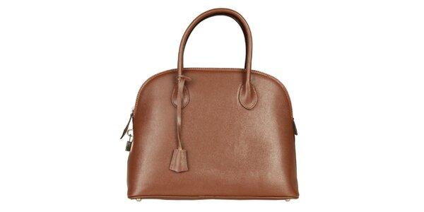 Dámska hnedá kožená kabelka Made in Italia