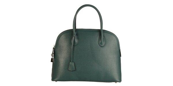 Dámska modrozelená kožená kabelka Made in Italia