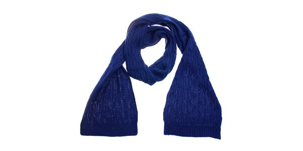 Dámska tmavo modrá pletená šála Fraas