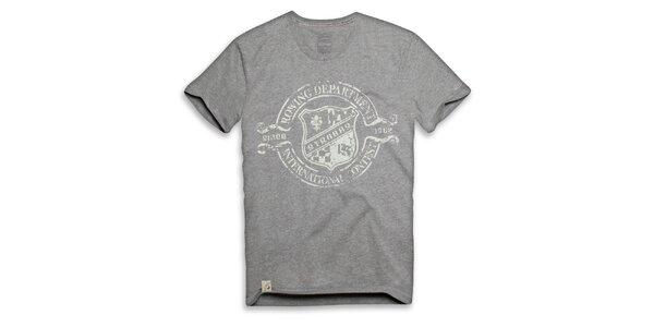 Pánske svetlo šedé tričko s vesliarskou potlačou Paul Stragas