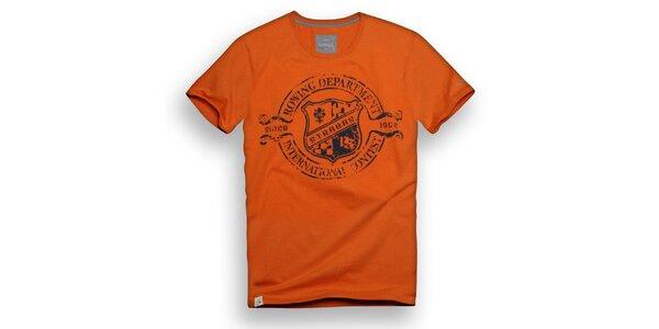 Pánske oranžové tričko s vesliarskou potlačou Paul Stragas