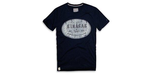Pánske tmavo modré tričko s oválnou potlačou Paul Stragas