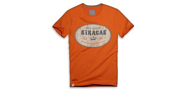 Pánske oranžové tričko s oválnou potlačou Paul Stragas