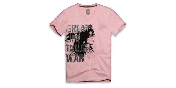 Pánske svetlo ružové tričko s nápisom Paul Stragas