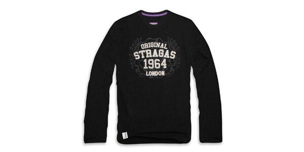 Pánske čierne tričko s dlhým rukávom a vavrínom Paul Stragas
