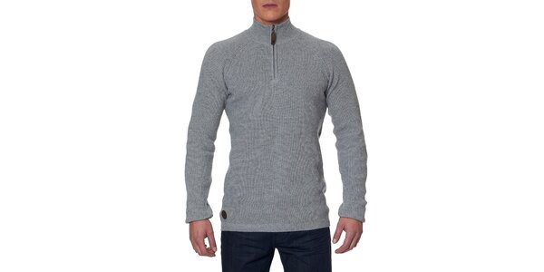 Pánsky šedý sveter so stojáčikom na zips Paul Stragas