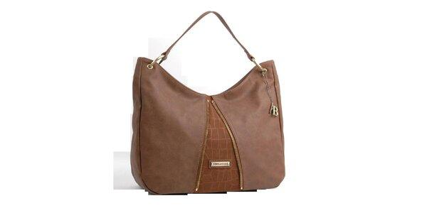 Dámska svetlo hnedá kabelka Bulaggi s ozdobnými zipsami