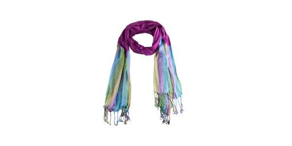 Dámsky modro-fialový šál so strapcami Via Bellucci