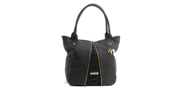 Dámska čierna kabelka Bulaggi s ozdobnými zipsami