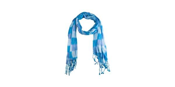 Dámsky modrý kockovaný šál so strapcami Via Bellucci