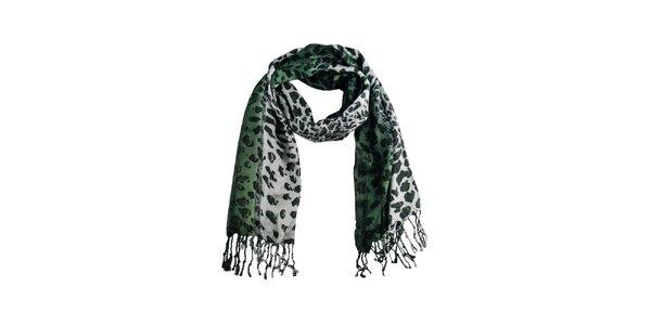 Dámsky zelený leopardí šál Via Bellucci