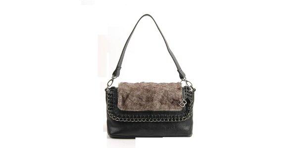 Dámska čierna kabelka Bulaggi s hnedým kožúškom