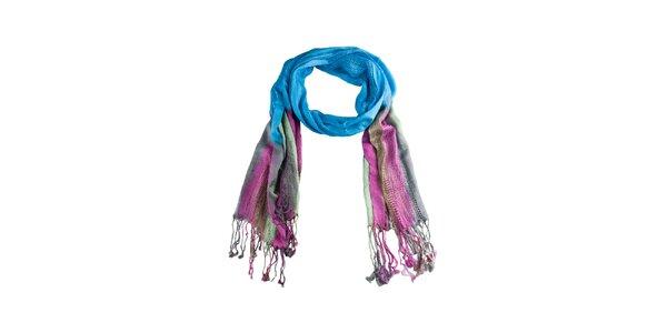 Dámsky modro-ružový šál so strapcami Via Bellucci