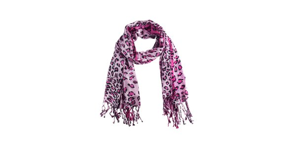 Dámsky ružový leopardí šál Via Bellucci
