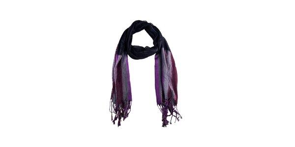 Dámsky fialový šál so strapcami Via Bellucci