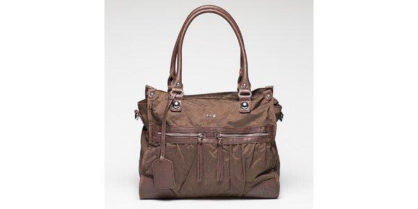 Dámska hnedá kabelka s visačkou Gas
