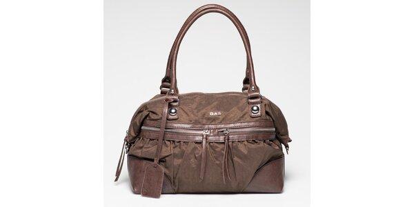 Dámska hnedá kabelka s vonkajším zipsovým vreckom Gas