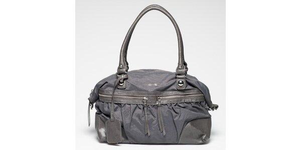Dámska šedá kabelka s vonkajším zipsovým vreckom Gas