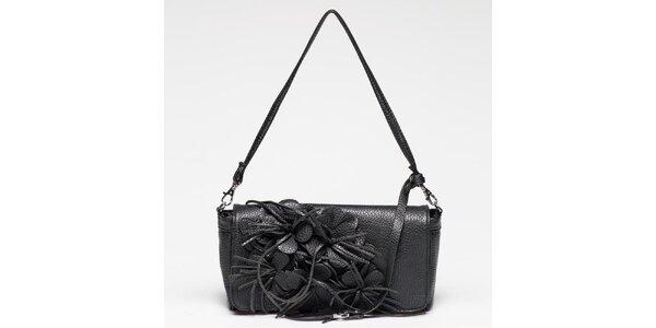 Dámska čierna kabelka s kvetinkami na klope Gas