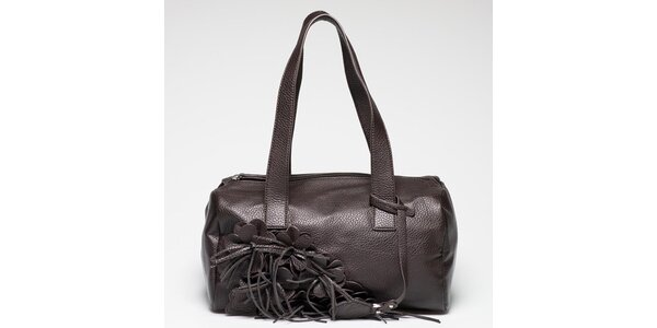 Dámska hnedá kabelka s kvetinovou aplikáciou Gas