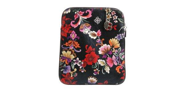 Čierne púzdro na iPad Bulaggi s kvetovou potlačou
