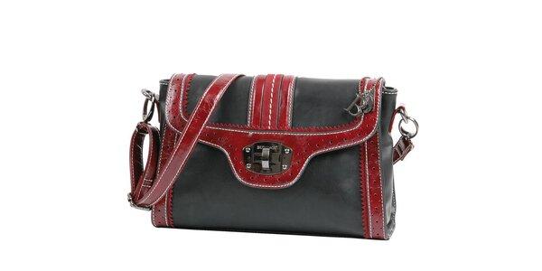 Dámska čierna kabelka Bulaggi s vínovými detailami