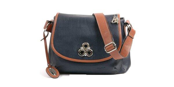 Dámska tmavo modrá kabelka Bulaggi so svetlo hnedými detailami