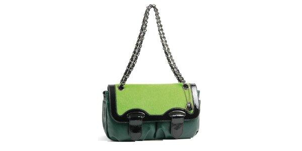 Dámska tmavo zelená kabelka Bulaggi s retiazkou