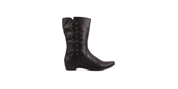 Dámske čierne členkové topánky Toscania s ozdobným šnurovaním