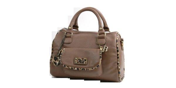 Dámska svetlo hnedá kabelka Bulaggi s leopardím lemom