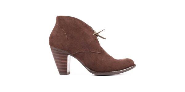 Dámske hnedé semišové topánky s opätkom Elite