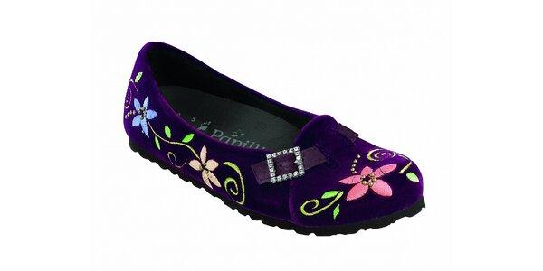 Dámske fialové zamatové baleríny Papillio s kvetinovou výšivkou