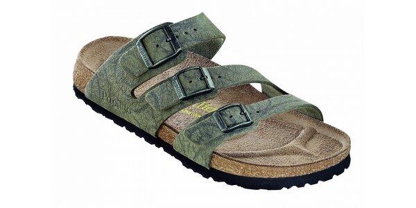 Dámske hnedo-šedé ortopedické papuče Papillio s tromi opaskami