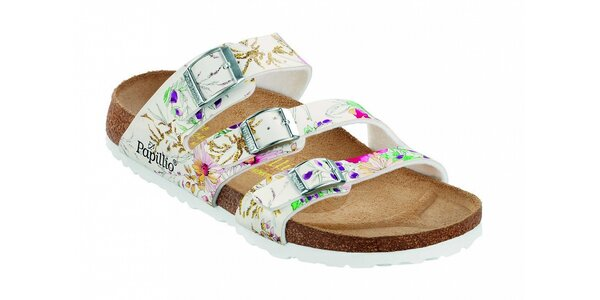 Dámske biele ortopedické papuče Papillio s tromi opaskami