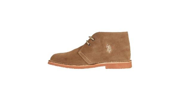 Pánske orieškovo hnedé členkové semišové topánky U.S. Polo