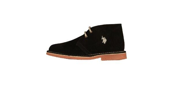 Dámske čierne šnúrovacie topánky U.S. Polo