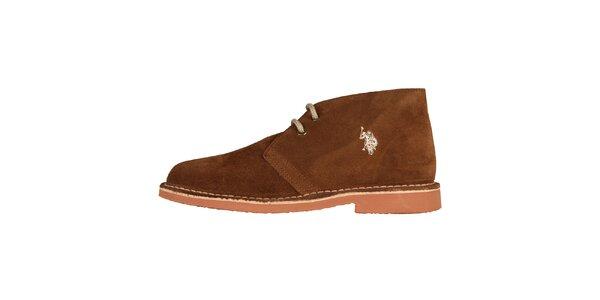 Dámske gaštanovo hnedé šnúrovacie topánky U.S. Polo