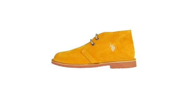 Dámske svetlo oranžové semišové topánky U.S. Polo