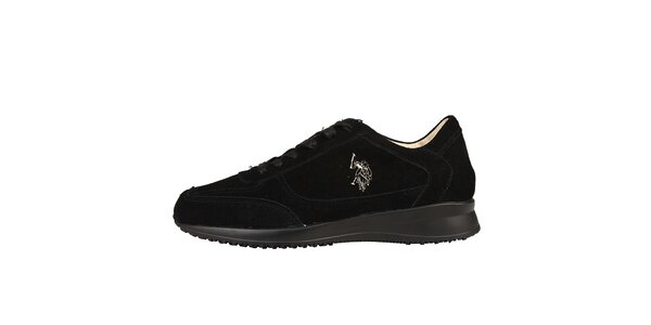 Pánske čierne semišové šnúrovacie topánky U.S. Polo