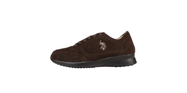 Pánske tmavo hnedé semišové šnúrovacie topánky U.S. Polo