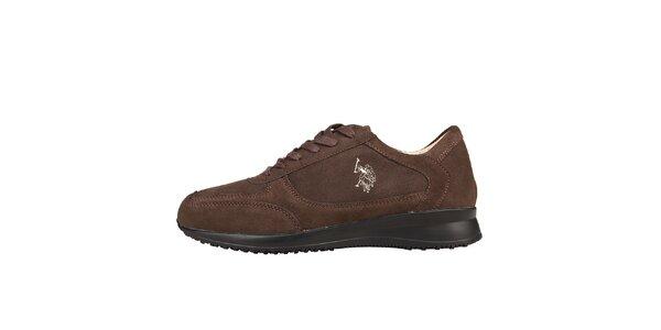 Pánske hnedé semišové šnúrovacie topánky U.S. Polo