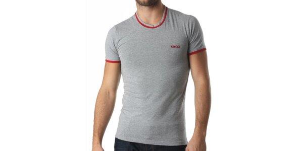 Pánske šedé tričko s červenými prvkami Kenzo